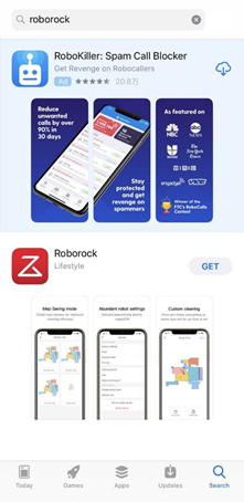 search Roborock app on App Store